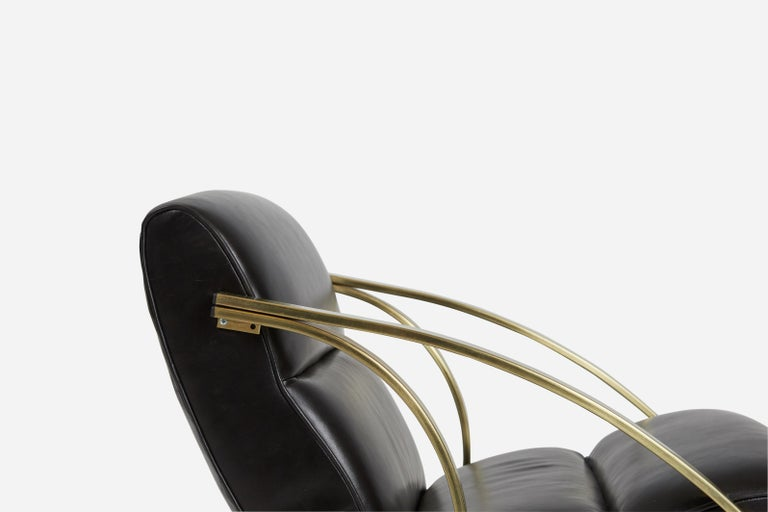1970s Brass and Black Leather Rocker Chairs Milo Baughman Style In Excellent Condition For Sale In Chicago, IL
