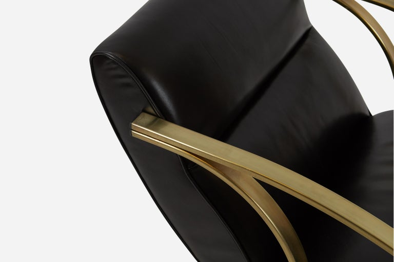 1970s Brass and Black Leather Rocker Chairs Milo Baughman Style For Sale 1