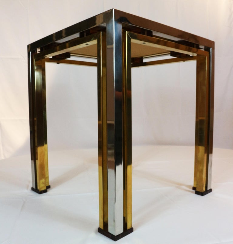 1970s Brass and Chrome Coffee Table by Romeo Rega, Italy 2