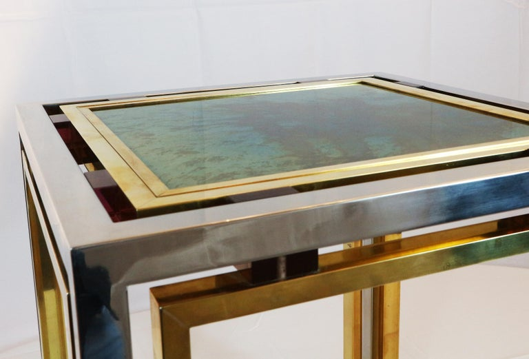 1970s Brass and Chrome Coffee Table by Romeo Rega, Italy 3