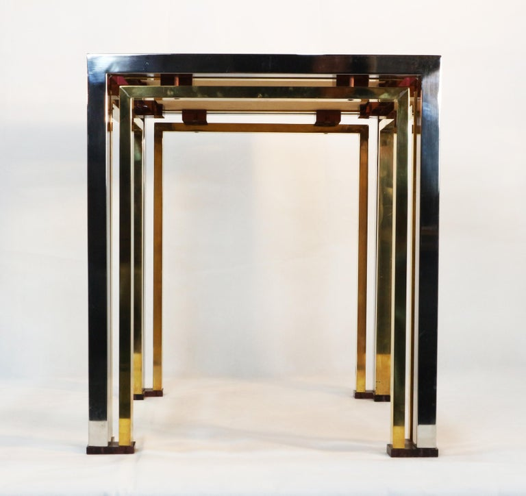 1970s Brass and Chrome Coffee Table by Romeo Rega, Italy 4