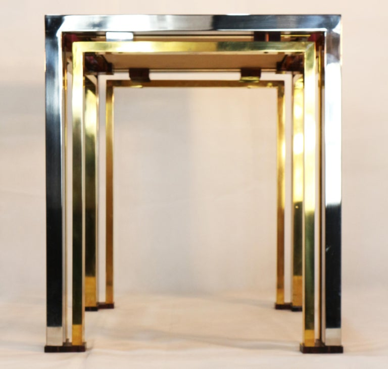 1970s Brass and Chrome Coffee Table by Romeo Rega, Italy 5