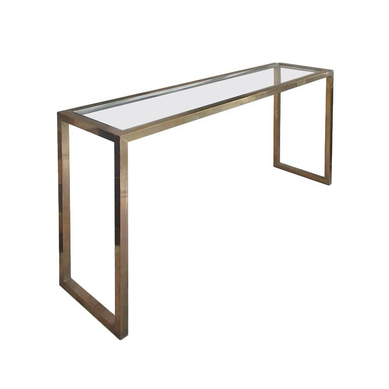 1970s Brass and Chrome Console by Jean Charles