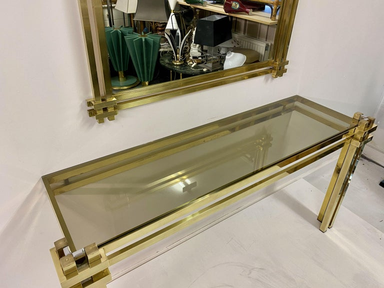 1970s Brass and Chrome Console Table and Mirror by Romeo Rega For Sale 4