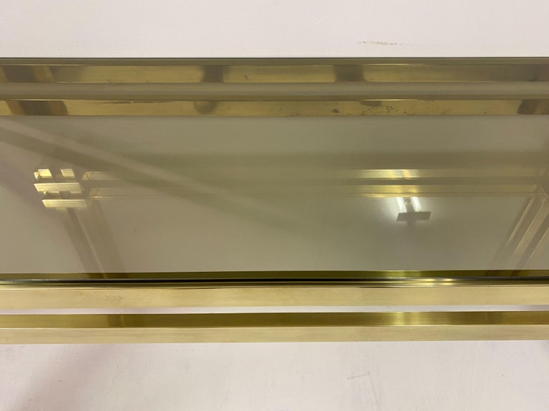1970s Brass and Chrome Console Table and Mirror by Romeo Rega For Sale 5