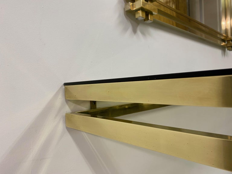 1970s Brass and Chrome Console Table and Mirror by Romeo Rega For Sale 7
