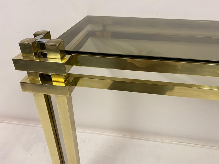 Mid-Century Modern 1970s Brass and Chrome Console Table and Mirror by Romeo Rega For Sale