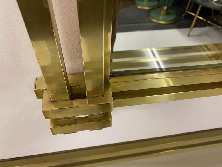 1970s Brass and Chrome Console Table and Mirror by Romeo Rega In Good Condition For Sale In London, London