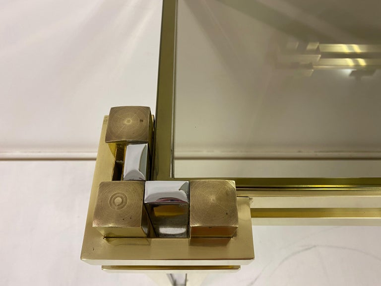 20th Century 1970s Brass and Chrome Console Table and Mirror by Romeo Rega For Sale