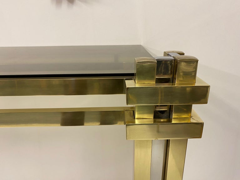 1970s Brass and Chrome Console Table and Mirror by Romeo Rega For Sale 1