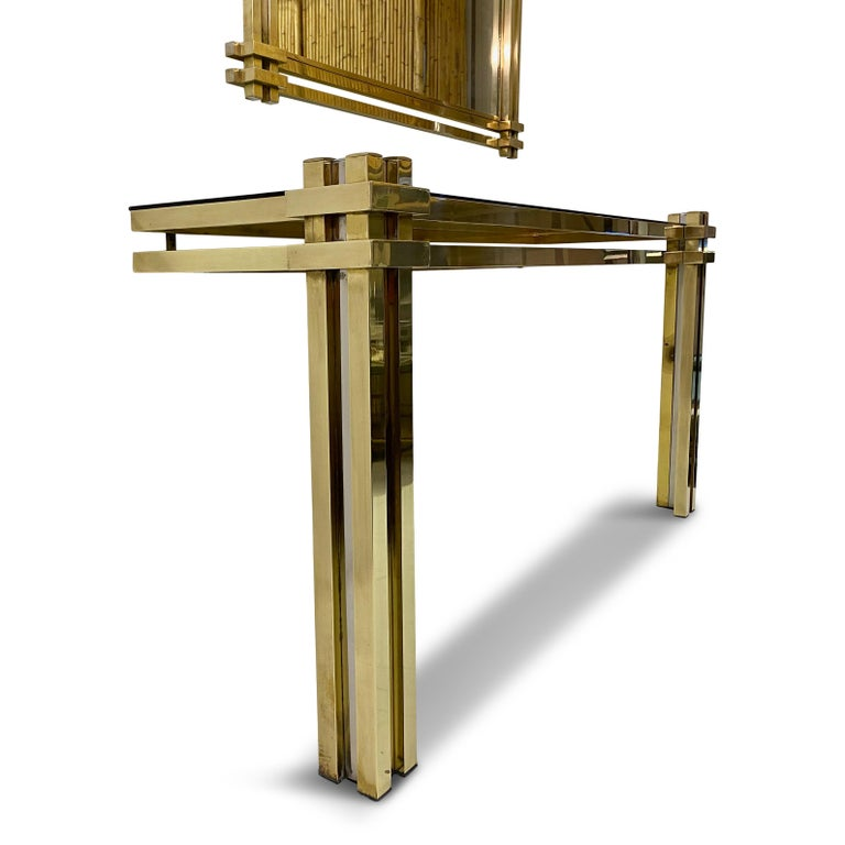 1970s Brass and Chrome Console Table and Mirror by Romeo Rega For Sale 2
