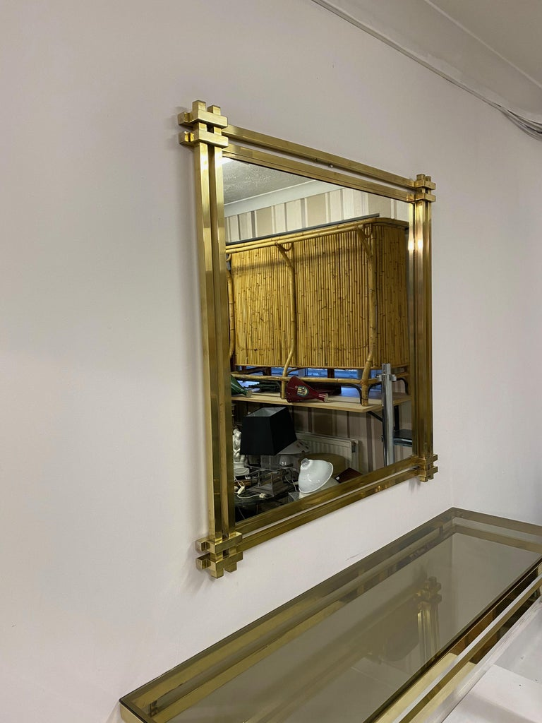 1970s Brass and Chrome Console Table and Mirror by Romeo Rega For Sale 3