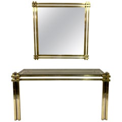 1970s Brass and Chrome Console Table and Mirror by Romeo Rega