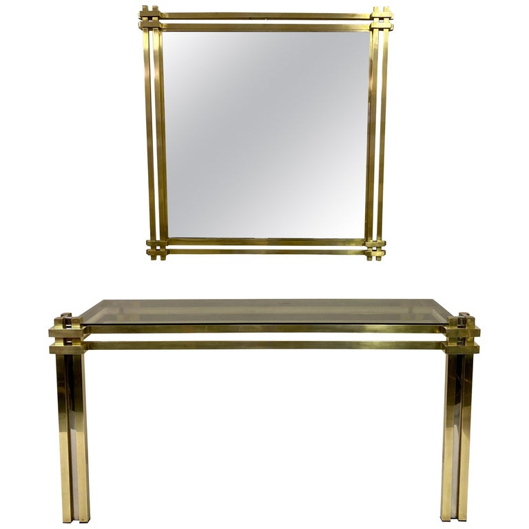 1970s Brass and Chrome Console Table and Mirror by Romeo Rega For Sale