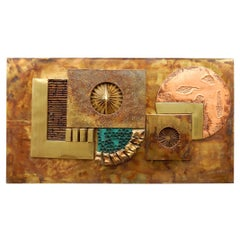 1970s Brass and Copper Brutalist Abstract Wall Sculpture
