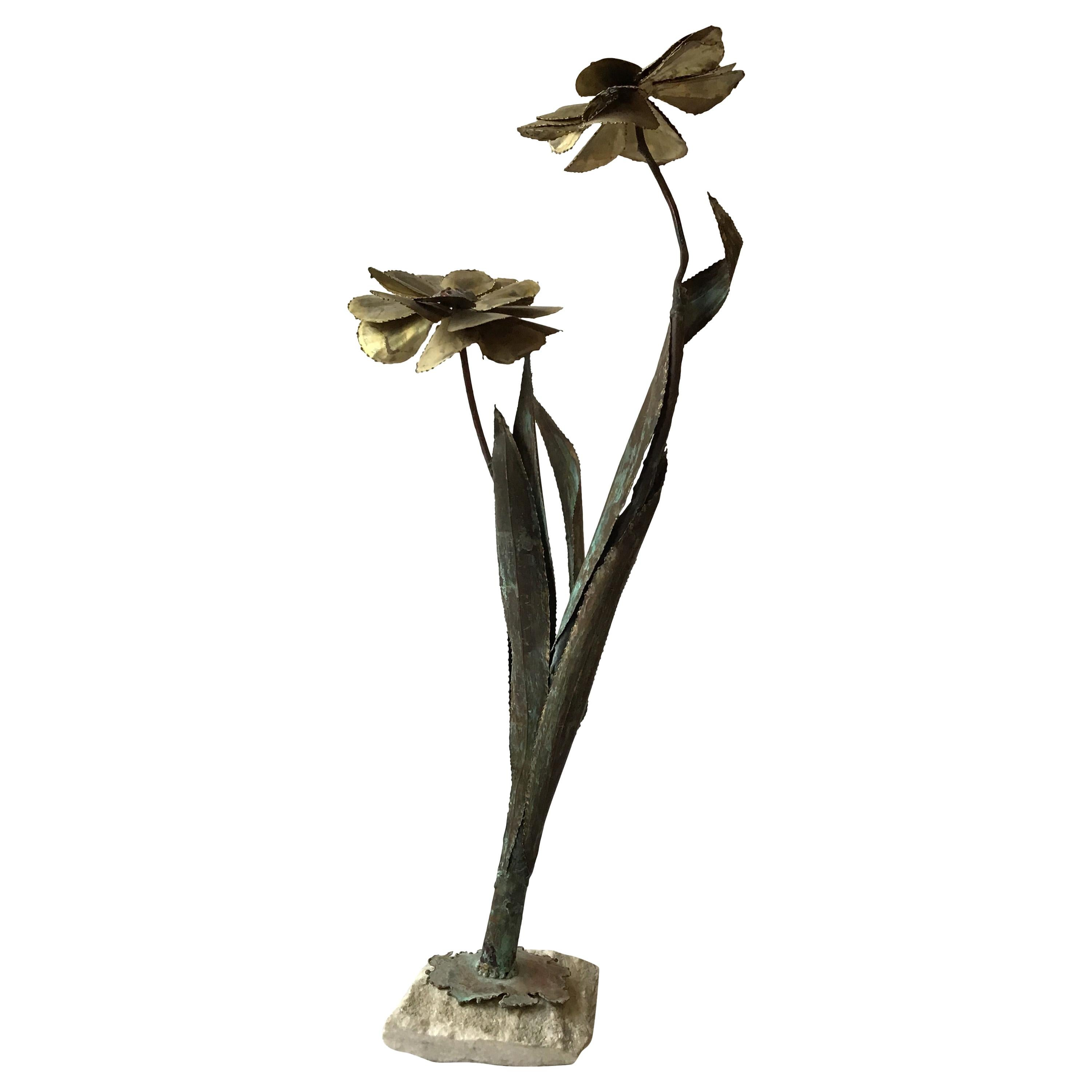1970s Brass And  Copper Floral Sculpture With Stone Base