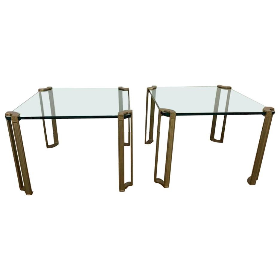 1970s Brass and Glass Coffee Tables by Peter Ghyczy