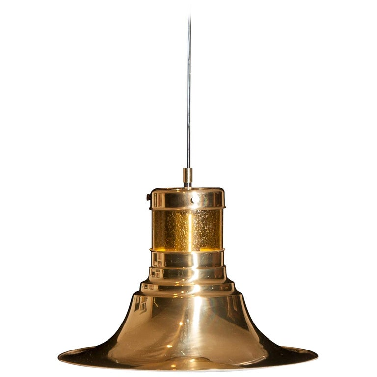 Swedish 1970s, Brass and Glass Pendant Lamp by Börje Claes for Norelett, Sweden For Sale