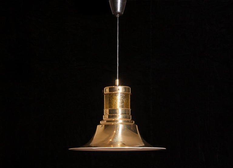 1970s, Brass and Glass Pendant Lamp by Börje Claes for Norelett, Sweden In Good Condition For Sale In Silvolde, Gelderland