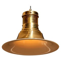 1970s, Brass and Glass Pendant Lamp by Börje Claes for Norelett, Sweden