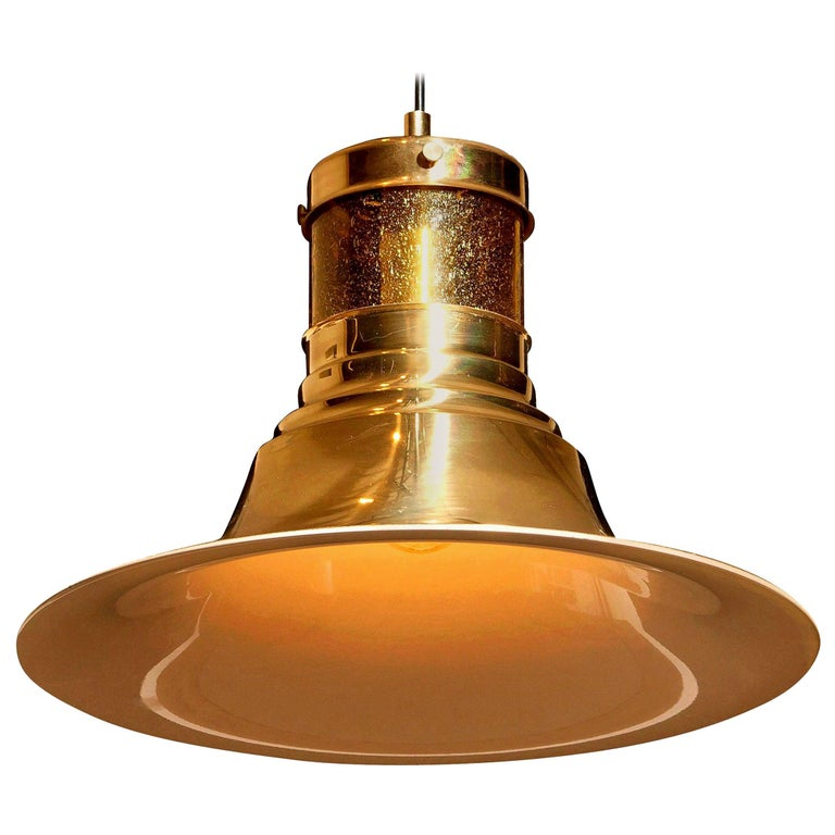 1970s, Brass and Glass Pendant Lamp by Börje Claes for Norelett, Sweden For Sale