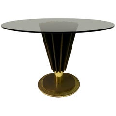 1970s Brass and Iron Circular Dining Table by Pierre Cardin