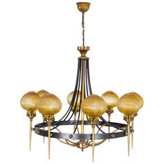 1970s Brass and Steel Chandelier