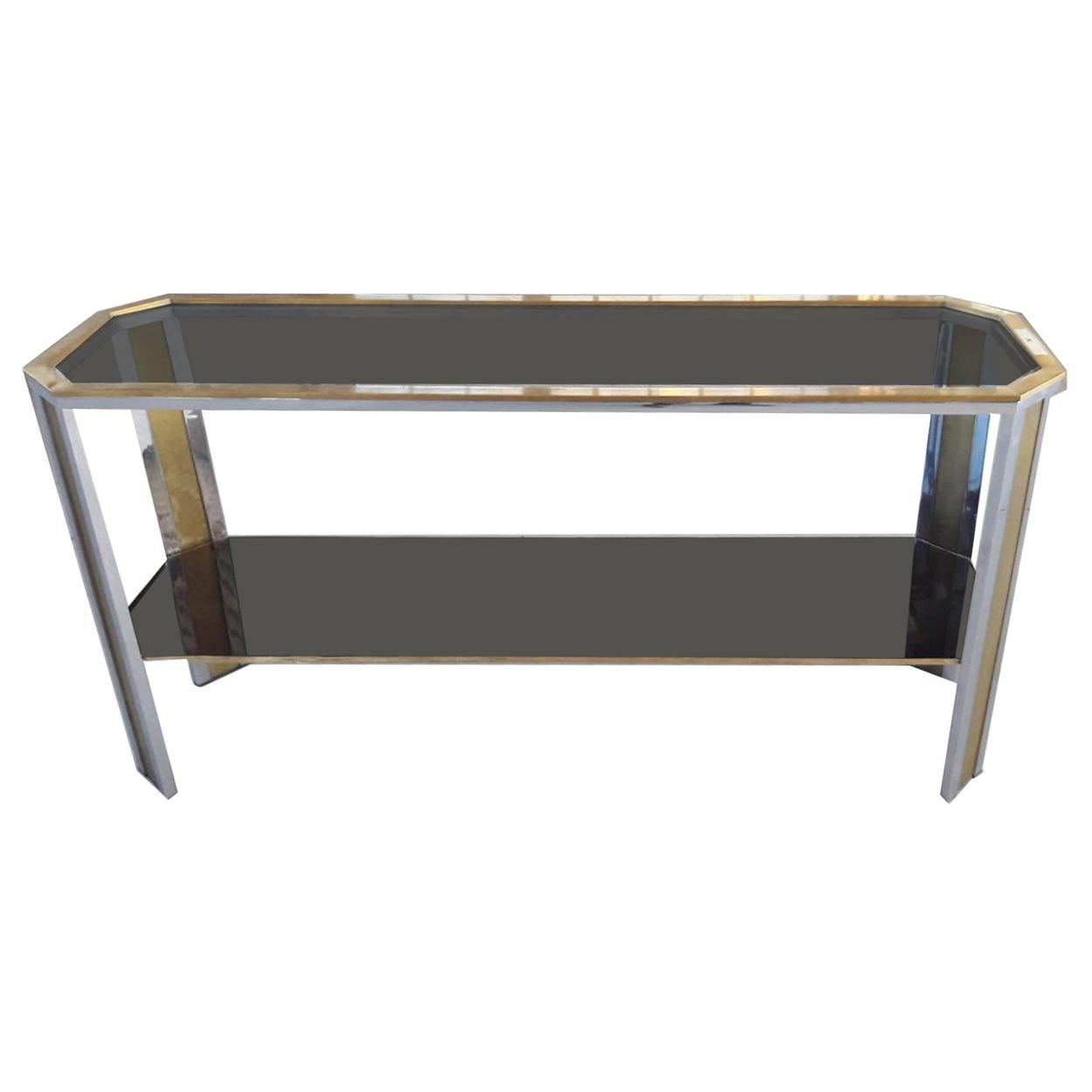 1970s Brass and Steel Smoked Glass Top Table Console at Romeo Rega manner