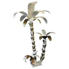 1970s Brass and White Lacquer Palm Tree Attributed to Tommaso Barbi