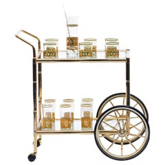 1970s Brass Bamboo Bar Cart with Smoked Glass Shelves