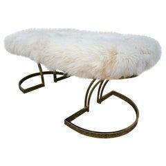 1970s Brass Bench with Ivory Sheepskin Seat