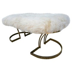 1970s Brass Bench with Ivory Sheepskin Seat