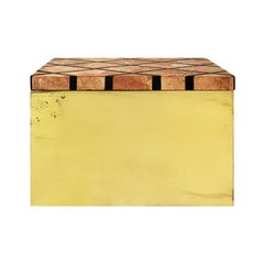 1970s Brass Box with Patterned Marble Lid