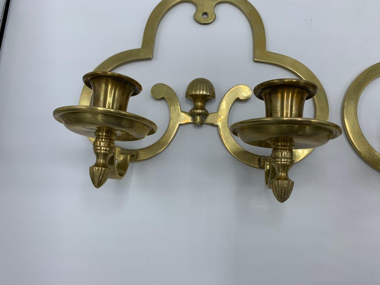 20th Century 1970s Brass Candlestick Wall Sconces, Pair For Sale