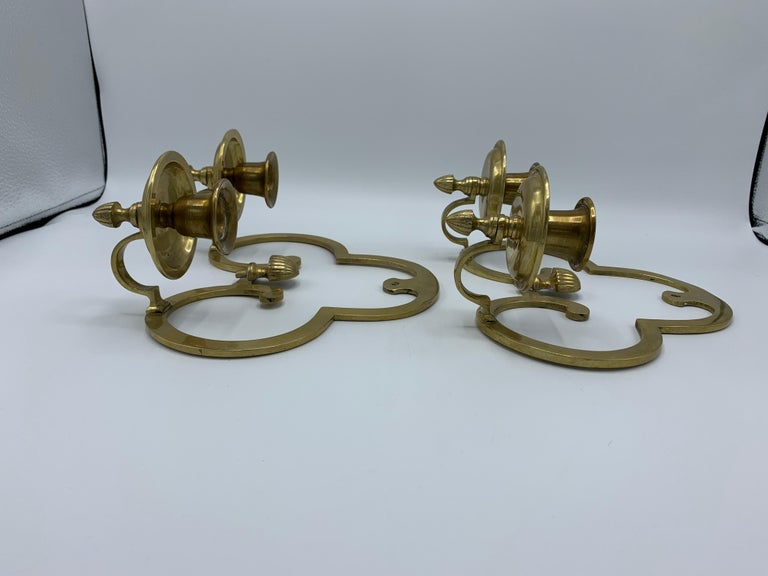1970s Brass Candlestick Wall Sconces, Pair For Sale 2