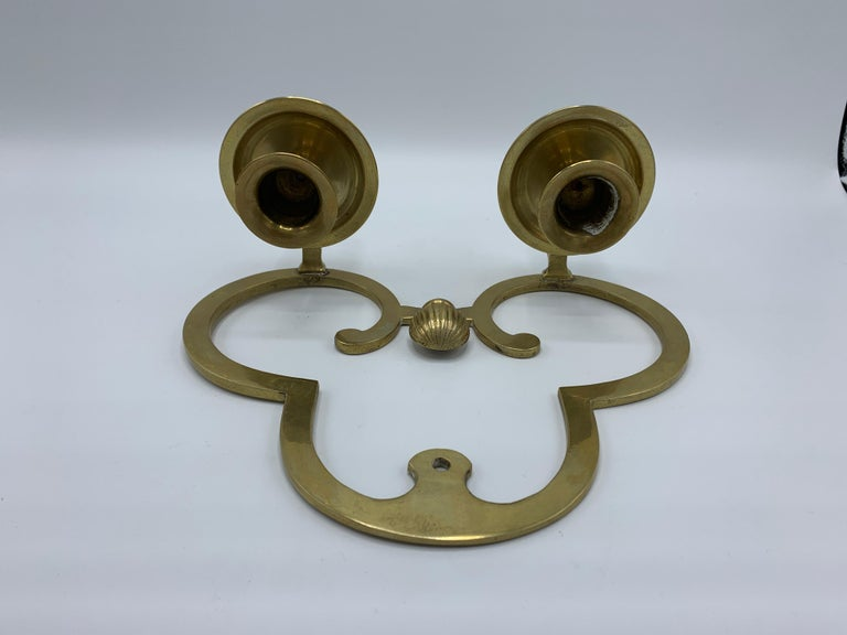 1970s Brass Candlestick Wall Sconces, Pair For Sale 3