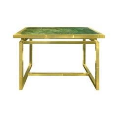 1970s Brass Desk with Green Marble Cantilevered Top