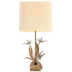 1970s Brass Flower Table Lamp in the Manner of Maison Charles