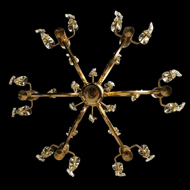 1970's Brass & Glass Chandelier by Gaetano Sciolari For Sale 5