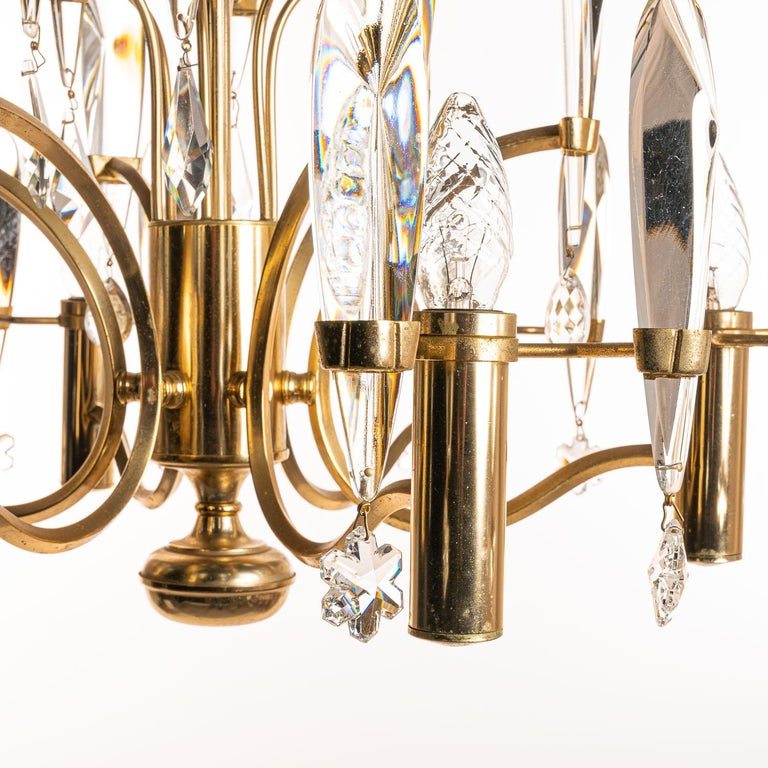Italian 1970's Brass & Glass Chandelier by Gaetano Sciolari For Sale