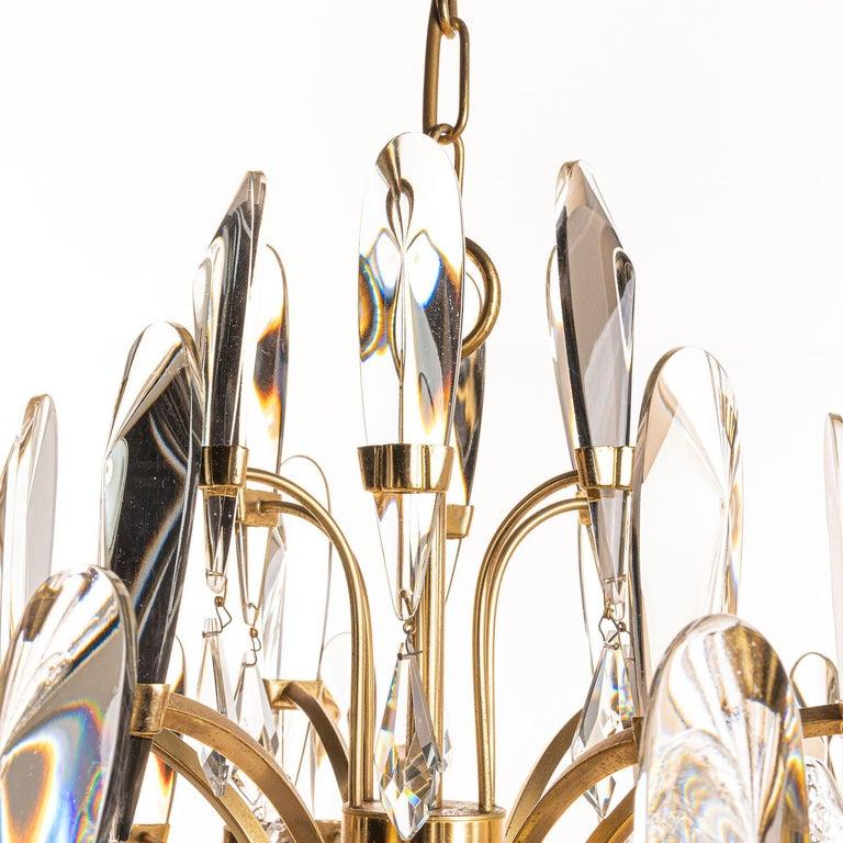 20th Century 1970's Brass & Glass Chandelier by Gaetano Sciolari For Sale