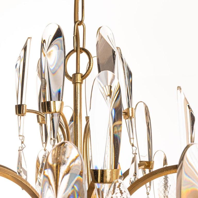 1970's Brass & Glass Chandelier by Gaetano Sciolari For Sale 1