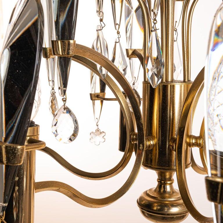 1970's Brass & Glass Chandelier by Gaetano Sciolari For Sale 2