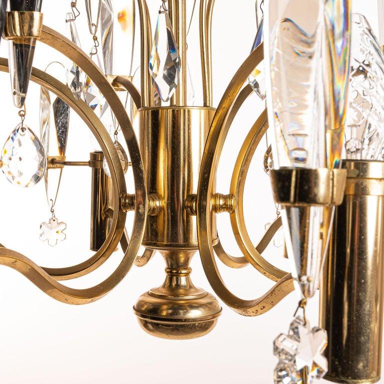 1970's Brass & Glass Chandelier by Gaetano Sciolari For Sale 3
