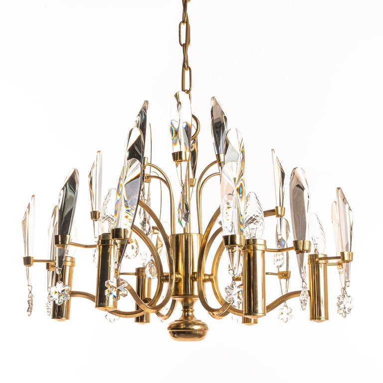 1970's Brass & Glass Chandelier by Gaetano Sciolari For Sale 4