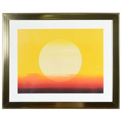 1970s Brass Gold Frame Orange, Red and Yellow Sunset Pencil Signed Serigraph