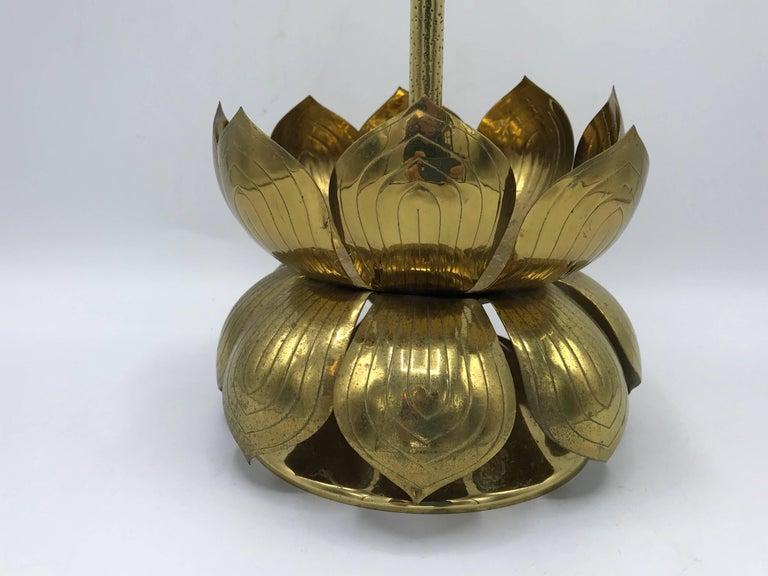 1970s Brass Lotus Sculpture Candleholder For Sale 1