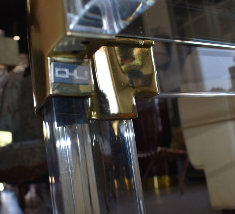 1970s Brass & Lucite Coffee Table Signed by Charles Hollis Jones For Sale 4