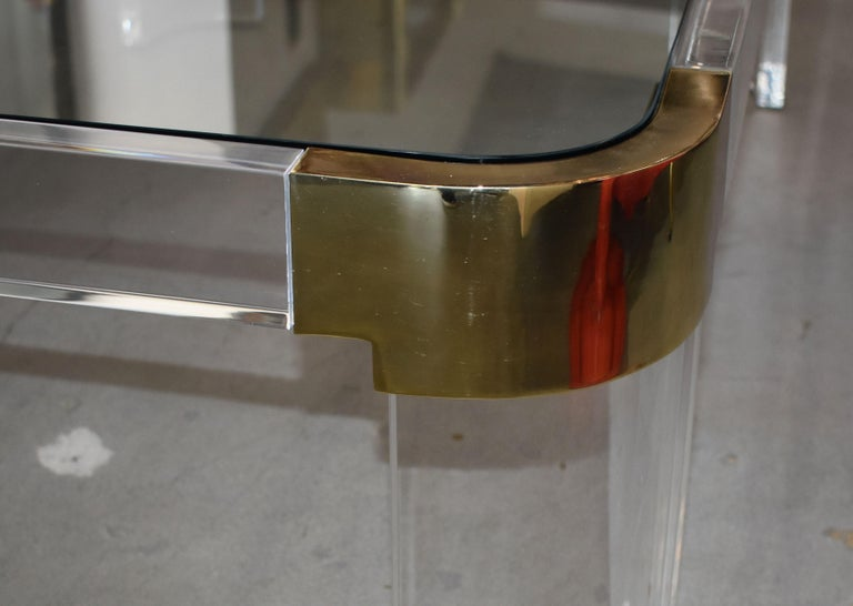 1970s Brass & Lucite Coffee Table Signed by Charles Hollis Jones For Sale 5