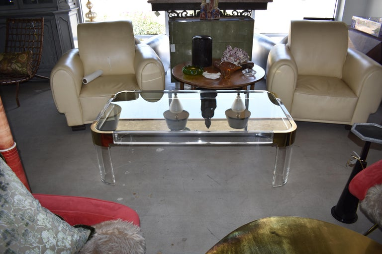 Mid-Century Modern 1970s Brass & Lucite Coffee Table Signed by Charles Hollis Jones For Sale